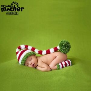 Crochet Baby Striped Christmas Hat Stocking Cap Set Photography Photo Prop Baby