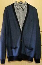 NWT $248.00 Polo Ralph Lauren Mens Wool/Silk/Cashmere Cardigan Sweater Blue XL