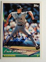 1994 Topps Erik Hanson Autograph, Auto Card Mariners Red Sox Blue Jays Signed