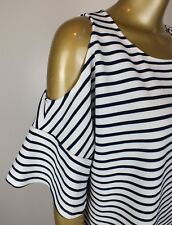 SUSSAN  BLOUSE SHIRT TOP STRIPED TOP CUT OUT SHOULDER TOP TANK  - LARGE