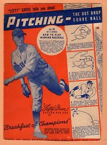 1937 Wheaties Card of HOF Lefty Grove Pitcher for Boston Red Sox