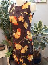 BREAL  robe debardeur longue marron jaune imprimée fleurs doublée taille 38