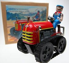 CLASSIC TIN TOY WIND UP COLLECTABLE FARMER ON TRACTOR  BOXED