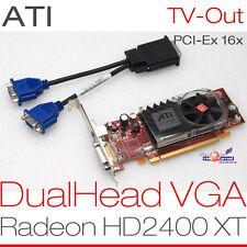 256 Mb Ati Radeon HD2400 PCIe Double Tête 2x VGA Carte graphique KIT COMPLET