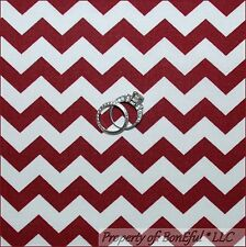 BonEful Fabric FQ Cotton Burgundy Maroon White Mississippi State CHEVRON Stripe