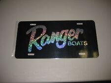 Ranger boats license plate/ Black tag w/ Silver flake