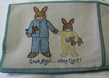 Bedtime Buddies Bunny Rabbits child baby room Tapestry Fabric Pillow top Panels