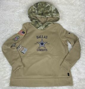 New Dallas Cowboys Nike Kids Salute To Service Therma Pull Hoodie Size Medium