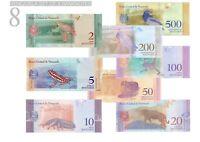 VENEZUELA BANKNOTES UNC 2 - 500 BOLIVAR | 8 BANKNOTEN SET 2018 UNZ Le Grand Mint