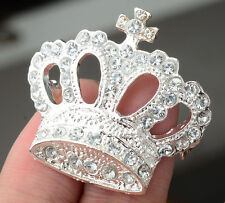 Exquisite Silver Plated Rhinestone Crystal Crown Brooch Pin Wedding Party