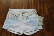 TRUE RELIGION WOMENS ROLLED WHITE Shorts Size 26 MSRP $229