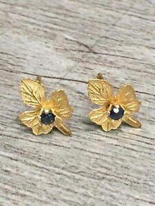 14K Yellow Gold Small Oak Leaf Stud Earrings
