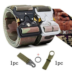2pc Quick Release Work Belt Tactical Black Men Army Nylon Metal Buckle Waistbelt