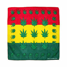 Red, Yellow & Green Stripe Marijuana Weed Pot Leaf Stoner Cotton Bandana