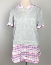 Postmark Anthropologie Sz LG Gray Pink Layered Plaid Short Sleeve Picnic Blouse