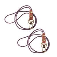 2Pieces Leather Lanyard Neck Wrist Strap ID Card Badge Phone Key Holder 49cm