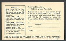 1928 P C NY PRENTICE HALL BOOK ON FEDERAL TAX COURSE ETC UNPOSTED