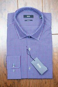 Hugo Boss Men's Marley Sharp Fit Blue Plaids Checks Cotton Dress Shirt 39 15.5
