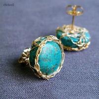 Vintage Turquoise Ear Stud Women Earrings Wedding Engagement Jewelry