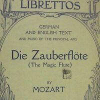 Die Zauberflote Magic Flute Mozart Grand Opera Librettos Boston Copyright 1913