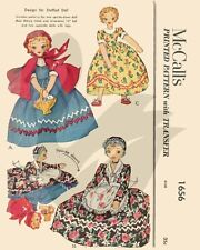 """Vintage Red Riding Hood Topsy Turvy Doll sewing Pattern 15"""" Tall"""