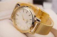 Men's Elegant Luxury Wrist Watch Grid Gold Metal Strap Chunky Dial Quart UK Gift