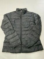 Womens AMAZON ESSENTIALS Black Full Zip Feather Duck Down Puffer Jacket Sz M