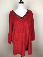 Quacker Factory Womens Top Red Velvet Beaded Shirt V Neck Pullover Size Large
