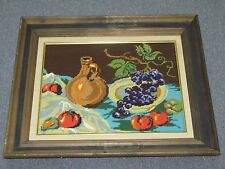 "Vintage Hand Stitch Handmade Needlepoint 11""x 15""- 17""x21"" Framed Fruits"