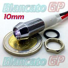 SPIA LED BIANCO 12V DC METALLO CONICO 10mm auto moto camper segnalatore lampada