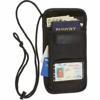 Travel Security Passport ID Holder w/ Neck Strap, Transparent Cover Mens Wallet