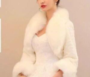 UK Fur Jacket Winter Bolero 3/4 Sleeve Wedding Jacket Plush Shawl Bridal Jacket