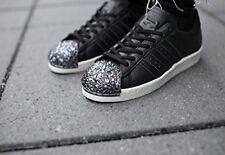 Adidas superstar años 80 3D metal del dedo del pie Negro Zapatillas Para Mujer Talla Reino Unido 6.5 EUR 40 Rara