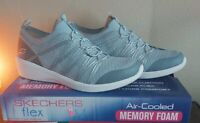 Skechers flex Arya Ladies Slip On Shoe Blue Air Cooled Memory Foam Pick Size