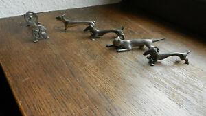 Jugendstil Zinn Messerbänkchen Dackel Katze Esel Kleeblatt
