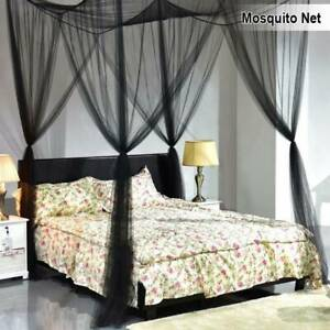 Mosquito Net Double Bed Canopy Four Poster Square King Size Protection Fly Black