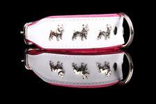 Leder-Halsband Französische Bulldogge, weiß-pink, 45cm x 40mm, french bulldog