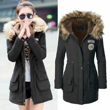 Womens Warm Coat Fur Collar Hooded Jacket Slim Winter Parka Outwear Coats Warm