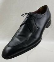 A Testoni Mens Oxford Apron Toe Black Leather Lace Up Shoes Italy Size 9M