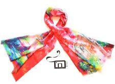 Luxury 100% Wool Cashmere Shawl Soul Art Red Scarf Spiritual Painting Xmas Gift