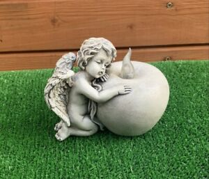 Angel Resting On LED Candle Grave Cemetery Memorial Ornament Light