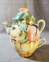 Italy Ceramic Teapot & Cup Hand Painted Combo Set