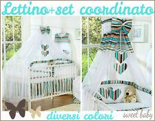 Lettino bimbo culla per neonato con set coordinato velo materasso tanti colori