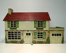 Vintage 50's Marx Tin Litho Doll House w/ 2 Ceiling Lights Walt Disney Character