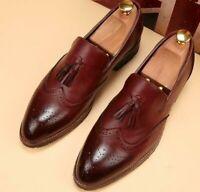 Handmade Men Wingtip brogue Tassels Shoes For Men Burgundy color formal shoes
