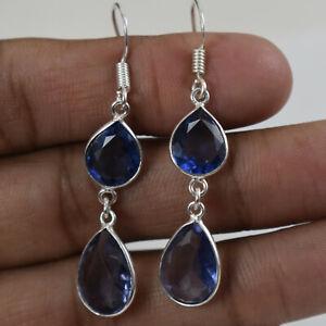925 Sterling Silver Handmade Amethyst Bezel Earrings Festive Gift ES-1341