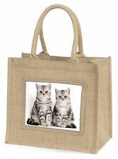Silver Tabby Kittens Large Natural Jute Shopping Bag Christmas Gift I, AC-124BLN
