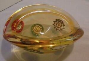 "Murano Bowl, Millefiori, Yellow to Amber, 6.25""x4.5"", 2.5"" Tall Vintage"