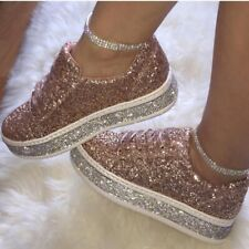 Womens Glitter Bling Bling Sequin Round Toe Creepers Lace Up Casual Loafer Shoes