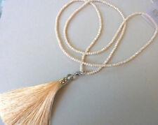 Glasperlen Halskette Rundumkette Endloskette Quaste Troddel beige 90 cm 7134